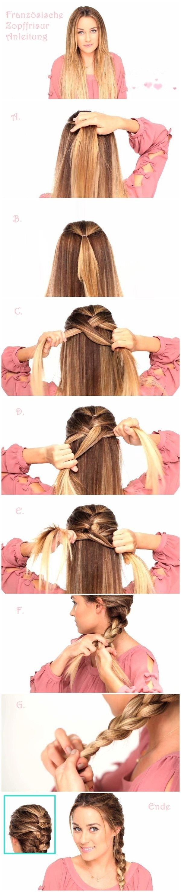 Easy Braided Hairstyles Tutorials: Trendy Hairstyle for Straight Long Hair I love how she puts her hair in a pony tail first, would keep it much more secure.
