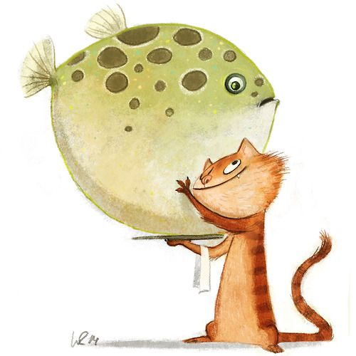 #Cat and #globefish  #waiter illustration by Wiebke Rauers Illustration ★ Find more at http://www.pinterest.com/competing