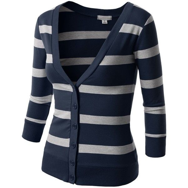 J.TOMSON Women's Striped V-Neck Button Down Cardigan featuring polyvore, fashion, clothing, tops, cardigans, jackets, button down cardigan, blue striped top, stripe cardigan, blue top and blue striped cardigan