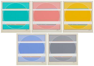 """SØREN EDSBERG DANSK 1945  Fem versjoner av """"Livets vej VIII"""" 1987 Fargeserigrafi, 193/300, 35x35 cm Alle signerte nede til høyre: Edsberg"""