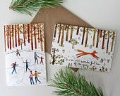 Six mixed illustrated Fox & Ice skaters Forest Christmas cards by Stephanie Cole Design