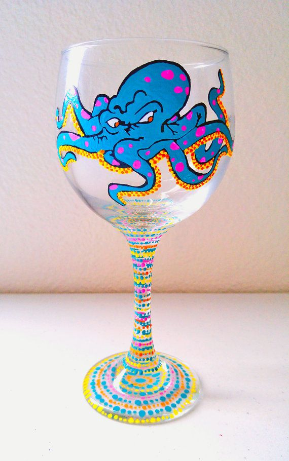 Fun Wine Glasses Hand Painted Wine Glasses Octopus