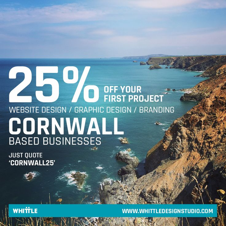 25% OFF website and graphic design services to Cornwall based businesses.