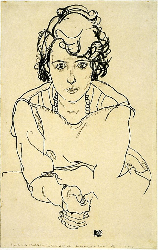 Boceto de Egon Schiele  Try a pen and ink portrait with a novel pose, not the same old thing.