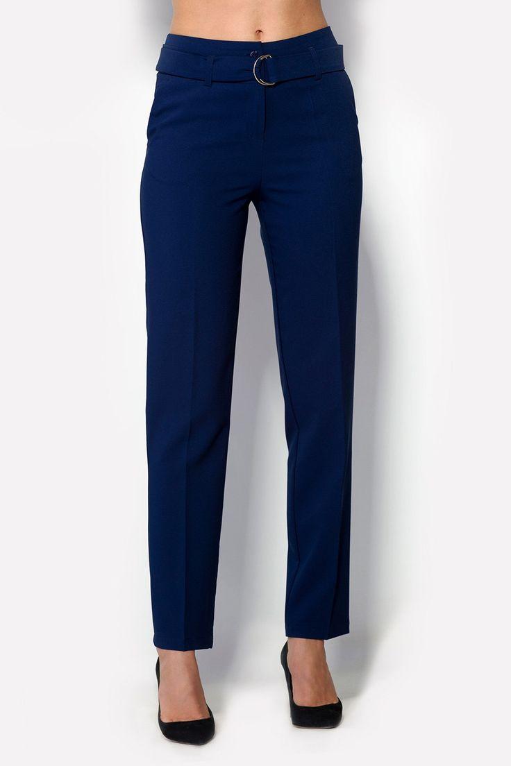 Купить темно-синие брюки OUN из креп-костюмки с поясом по талии в брендовом бутике TM CARDO
