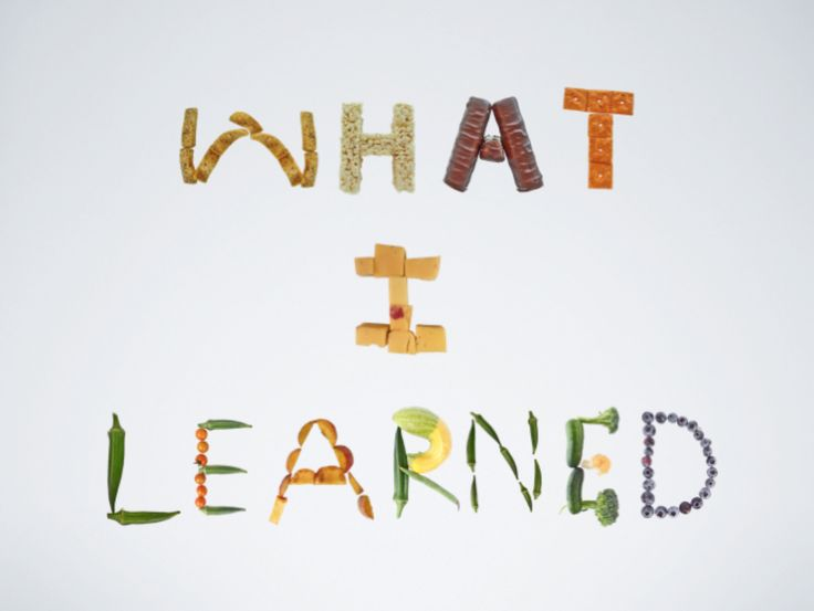 What I learned!  Made with Food Font letters - foodfont.com