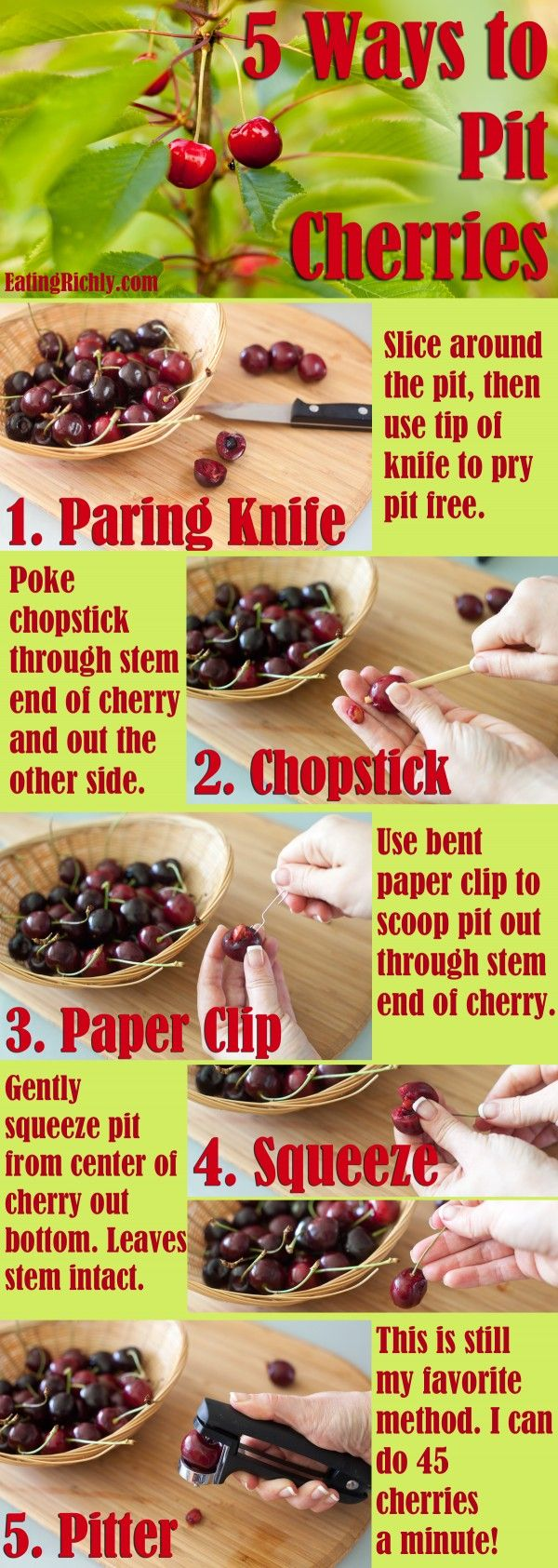 How to Pit Cherries (5 easy ways) by Eating Richly...  https://www.facebook.com/cherryfestival  #cherryfestival