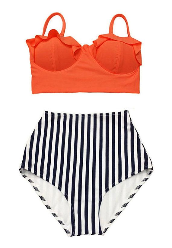 Orange Top and White/Navy Blue Stripe High waist waisted Bottom Pinup Pin up Bikini Bathing suit Swimsuit Swimwear Swim dress wear S M L XL