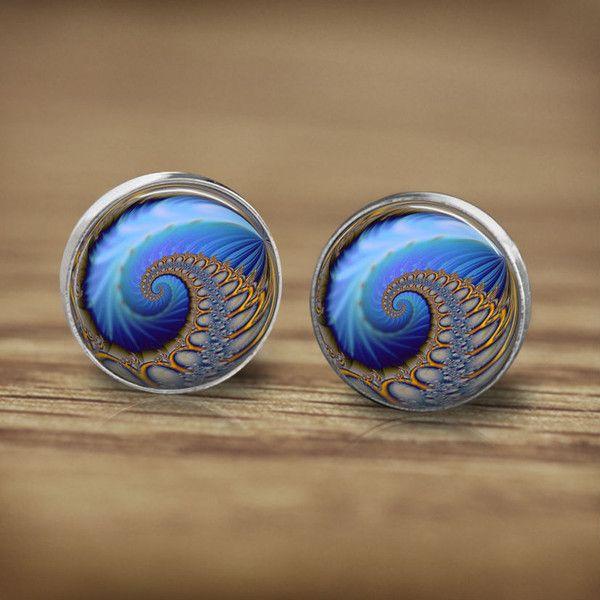 Ohrstecker - Ohrringe fraktale geometrische Figur blauen - ein Designerstück von MadamebutterflyMeagan bei DaWanda