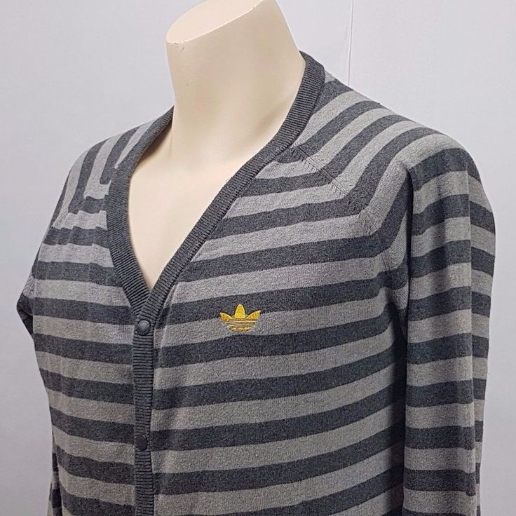 adidas sweather Cardigan Men's Size M With light gray and dark gray stripes. #adidas #Cardigan
