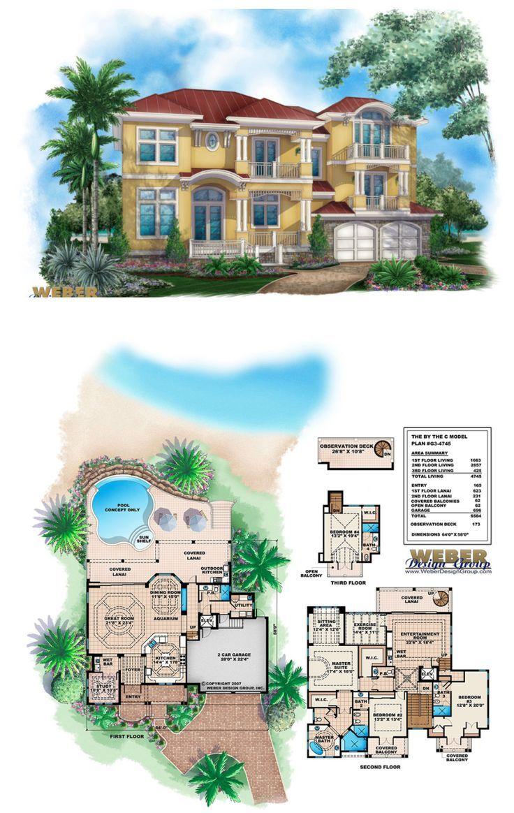 Beach House Plan 3 Story Tropical Caribbean Beach Home Floor Plan Beach House Design Beach House Plans Beach House Plan