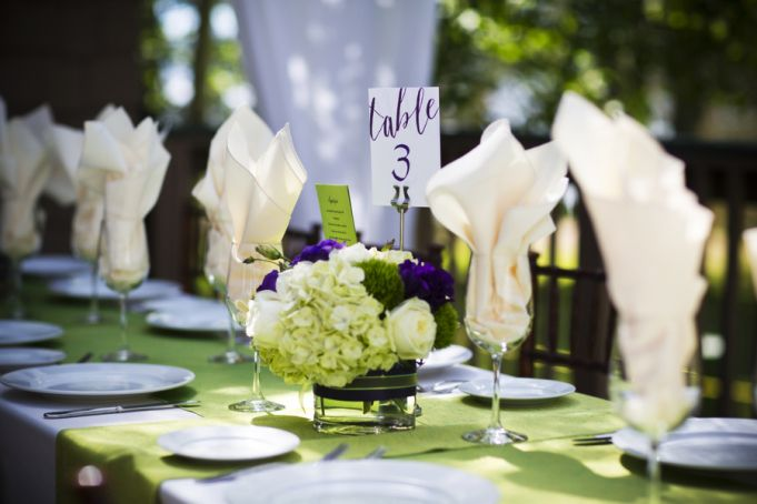 Summer Lake Tahoe Wedding by Kendall Price Photography Apple Dupioni Table Linens by Creative Coverings