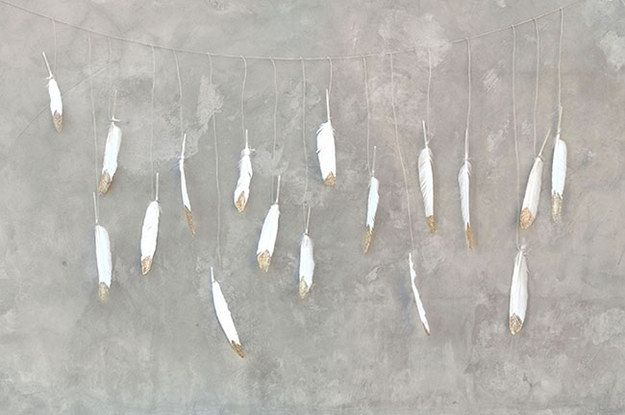 Gold Dipped Feather Garland. | Easy and inexpensive garland - add lightness to your event!