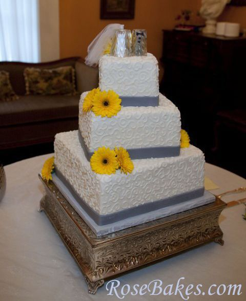 A Gray & Yellow Wedding Cake plus a recipe for vanilla cake.    This recipe is durable and dense - perfect for stacking with tiered cakes... oh, and it's moist and delicious!!