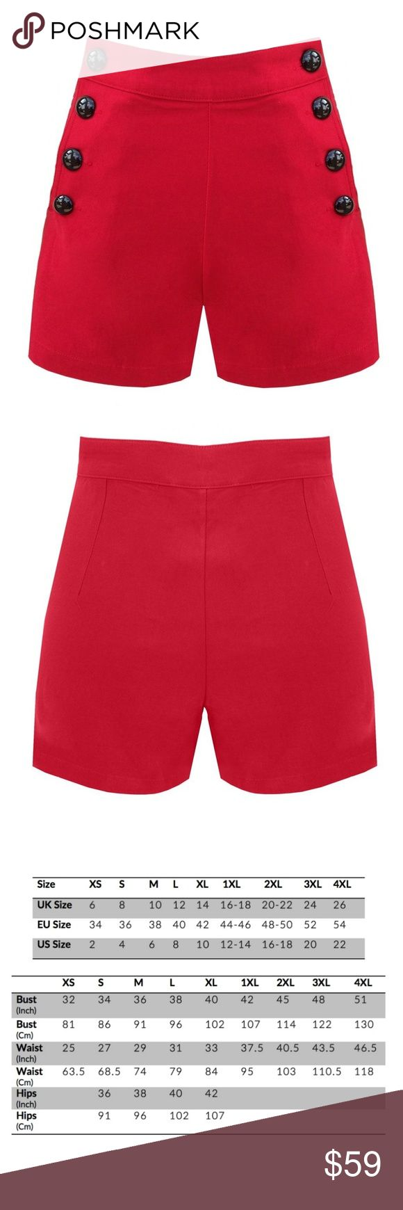 Pin Up High Waist Shorts Clothing Stretch Button NEW WITH TAGS Pin Up High Waist Stretch Button Shorts Clothing 70% Cotton, 26 %Nylon,4% Elastane Shorts