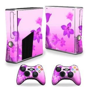 Protective Vinyl Skin Decal Cover for Microsoft Xbox 360 S Slim + 2 Controller Skins Skins Pink Flow