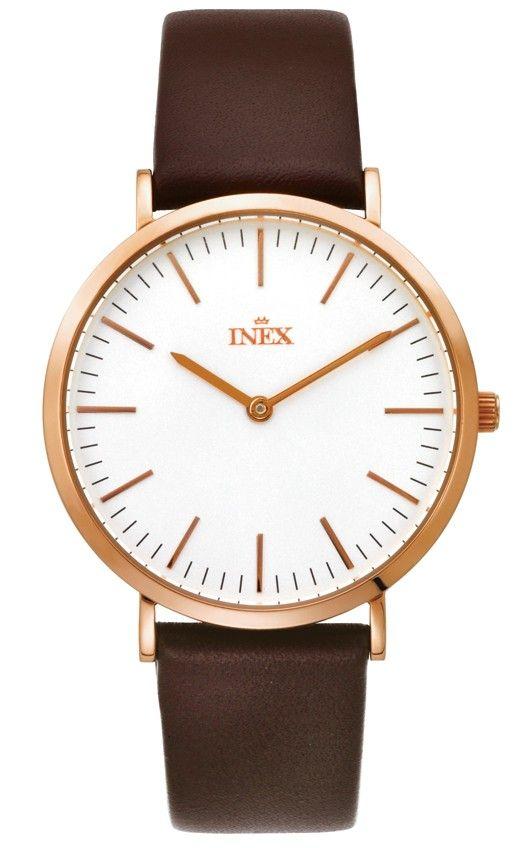 Stilrent rosegold dameur med brun læderrem Inex Rose Leather   2 Nato Straps A69463D4I