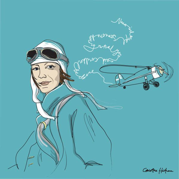 "Wall of Femme #1. Amelia Earhart 1897-1937 ""Never interrupt someone doing something you said couldn't be done.""  -Wall of Femme is a series of portraits of five strong and inspiring women by Illustrator Christina Heitmann. See more images and read the full stories behind each of these amazing women on https://www.behance.net/gallery/Wall-of-Femme/15382065 #quote #quotes #rolemodel #brave #women #illustration #inspiration #illustrations"
