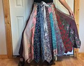 RESERVED Recycled Necktie Skirt/Plus Size Skirt/Long Silk Skirt/Mens Neckties/Upcycled Clothes/Repurposed/Pink Green Teal/Womens Size XL