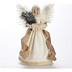 """16.5"""" Elegant Country Rustic Ivory Angel Decorative Christmas Tree Topper"""