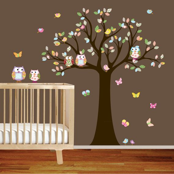 Children owl tree wall decal owls birds by wallartdesign on Etsy, $99.00  @Stephanie Sherman @Shannon Simmons  Thought you'd both be interested, for different reasons, obviously ;-)