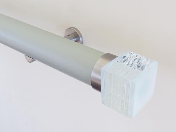 50mm diameter matt dove lacquered curtain pole set with bijou finials, steel brackets
