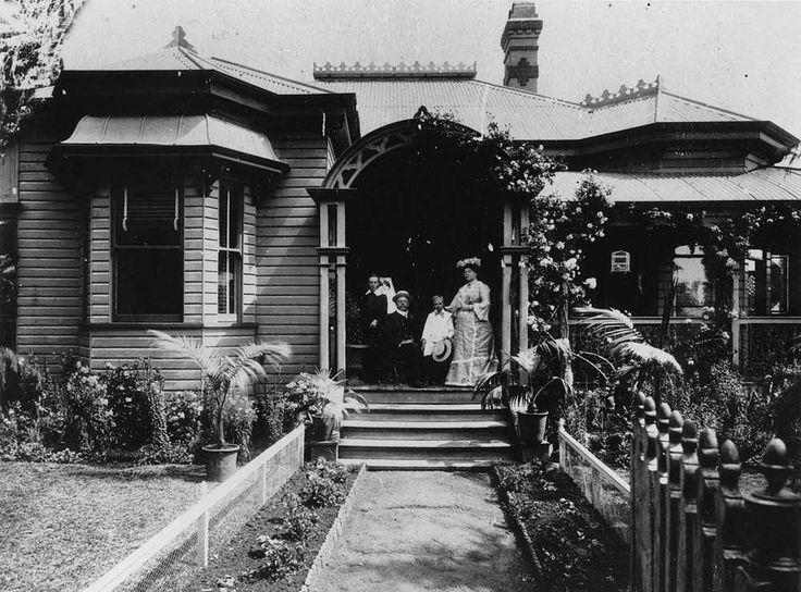 Wyembar in Cambell Street, Toowoomba, ca. 1905 - Jack Rosser, his wife Margaret (nee Ross Mackenzie) with nephews Jack and Jim Folks, seated on the verandah of Wyembar. This residence is situated at 80 Campbell Street, Toowoomba and was built in 1896.