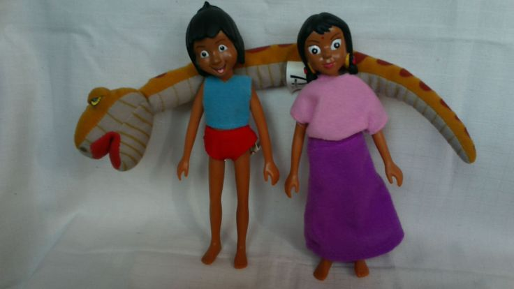 Lot Set Bundle of 3 dolls from Jungle book - Mowgli, Shanti and snake Kaa   4.99+2.5
