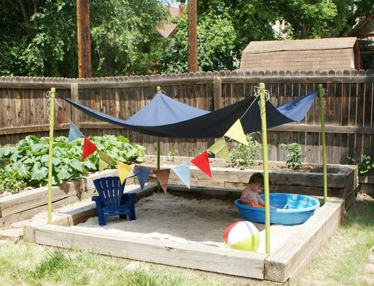 """back yard idea for toddlers....gotta do this with our """"garden"""" that doesn't get enough sun"""