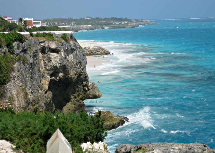 Beautiful Crane Beach from nearby overlook. One of Barbados's beaches with pink sand.
