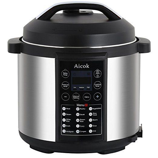 Aicok 7-in-1 Programmierbarer Elektrische Schnellkochtopf, Multikocher Reiskocher / Dampfgarer Kochtopf, 6L / 1000W