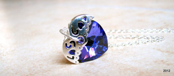 Crystal Heart Necklace  Choice of Colors  by BellaDonnaJewelryCo, $25.00