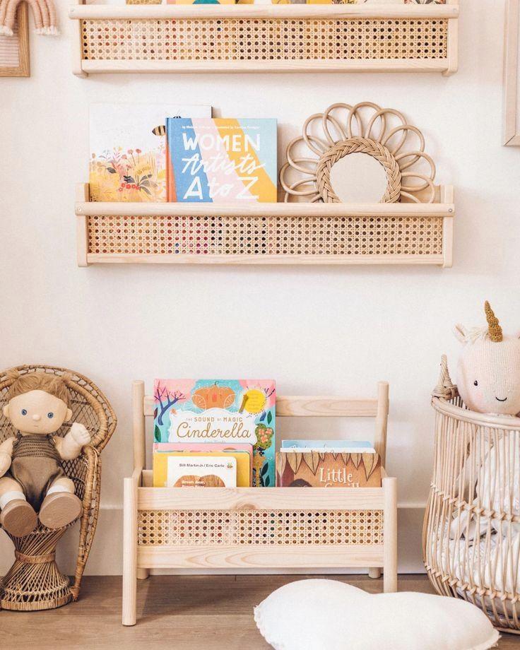 Ikea shelves in neutral nursery Montessori style