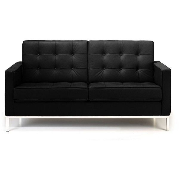 Rove Concepts Florence Knoll Loveseat - Modena Black Reproduction ($2,770) ❤ liked on Polyvore featuring home, furniture, sofas, modena black, black couch, rove concepts, black furniture, onyx furniture and black love seat
