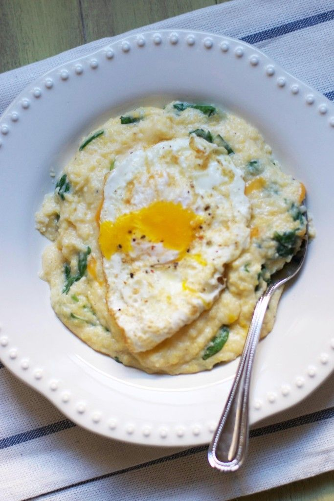 Cheesy Grits with Spinach and Fried Eggs via @Audra Harris Harris Harris Harris Harris Harris Harris Fullerton // The Baker Chick. /ES