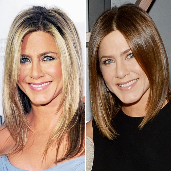 New Hair 2014: JENNIFER ANISTON The co-owner and face of Living Proof debuted a brunette lob at an event for the brand in Boston.
