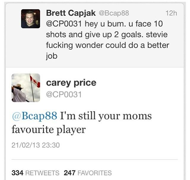Smack talk from Carey Price