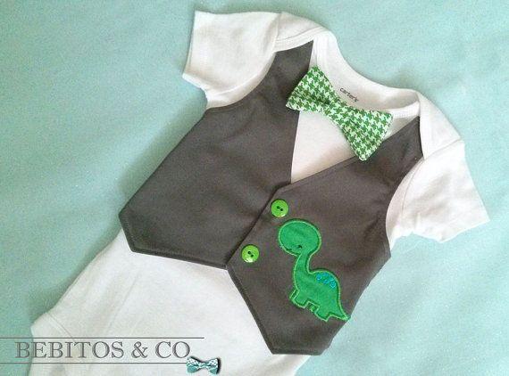 Baby Boy Vest Bodysuit  Dinosaur Vest Bodysuit  Boys by BebitosCo, $26.00