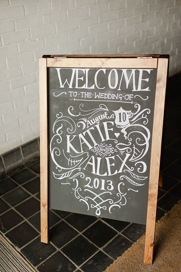 Chalkboard sign welcoming the bride and groom.  From 'A Suzanne Neville Gown, Red Lips And Touch Of Old Hollywood Glamour.'  http://www.alexa-loy.com/