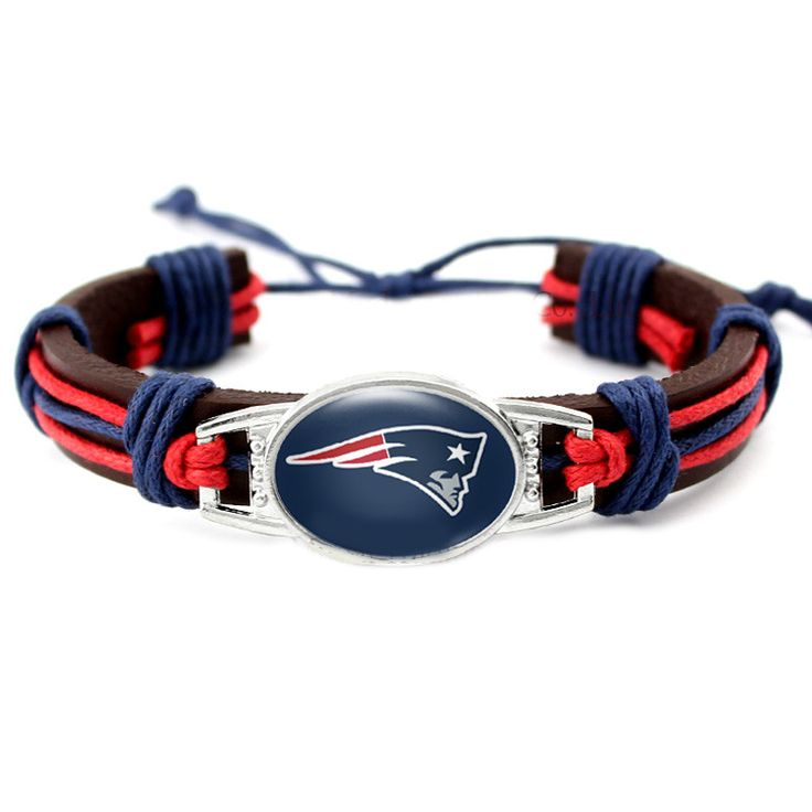 New England Patriots Genuine Leather Navy Blue Faced Cuff Bangle Bracelet