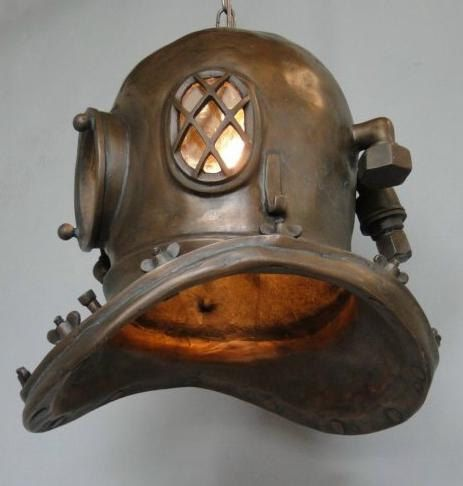 Antique Mark V Divers Helmet Hanging Light Fixture by TheKingsBay, $189.00