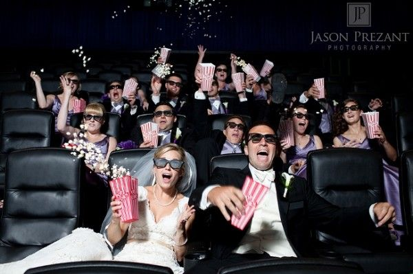 Awesome movie theater wedding photo