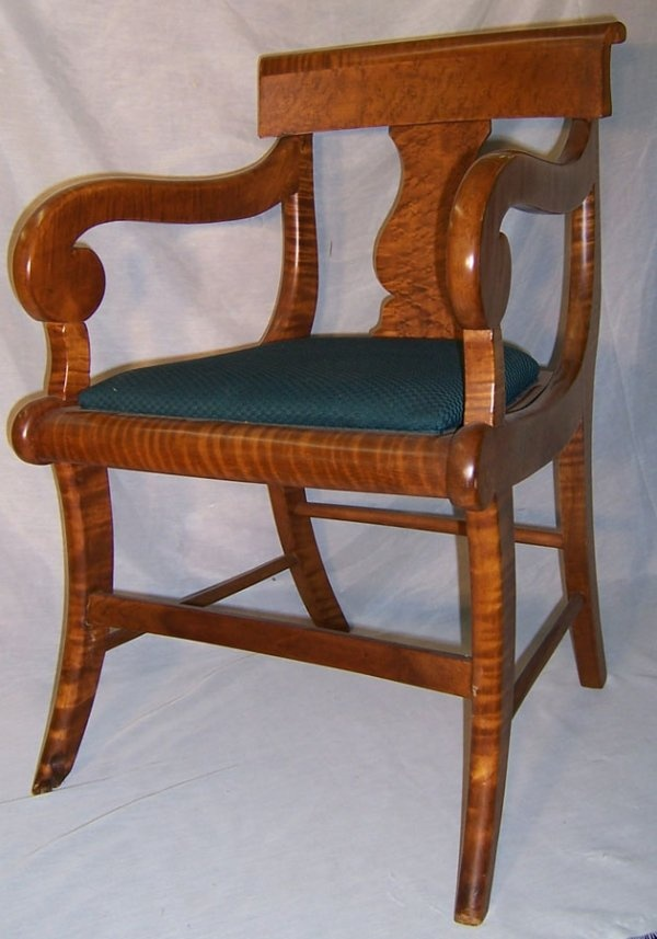 255 Tiger And Birdseye Maple Am Federal Arm Chair On