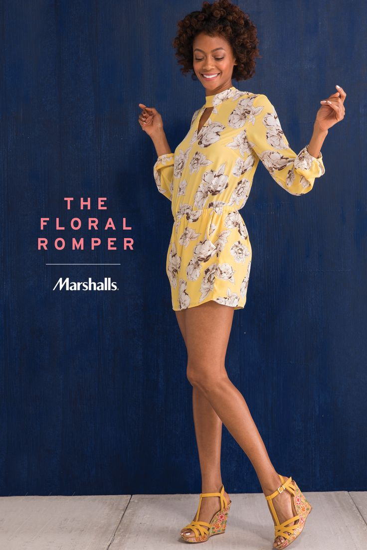 The floral romper! The one piece you need in your wardrobe this summer. We love the flowy sleeves, keyhole neckline and (best part) the pockets! Just add strappy cork wedges with a fun floral print. Visit Marshalls to find your new summer romper today!