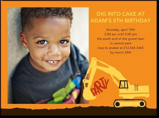 Digger truck birthday party invitation!