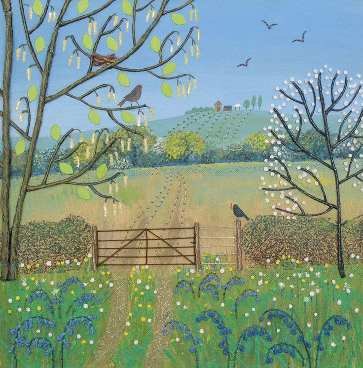 Jo Grundy - Spring at Bloomfield - mixed media on a 12 inch square box canvas