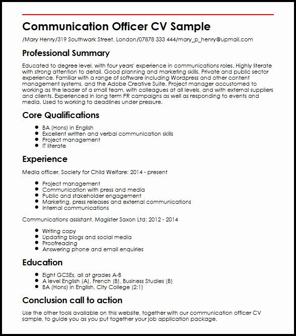Resume Language Skills Example New Munication Ficer Cv Sample Myperfectcv Resume Skills Job Resume Examples Resume Examples