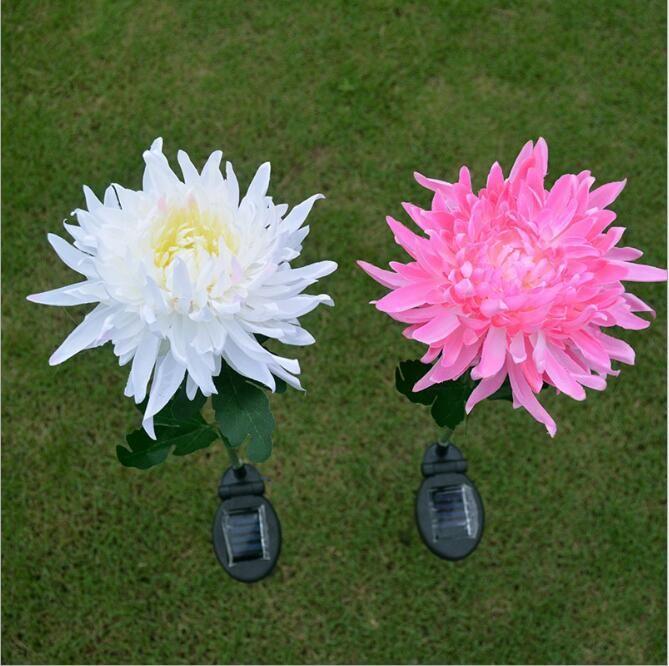 1 Led Solar Power Chrysanthemum Flower Light For Garden Yard Lawn Path Decoration Solar Flower Lights Solar Flower Flower Lights