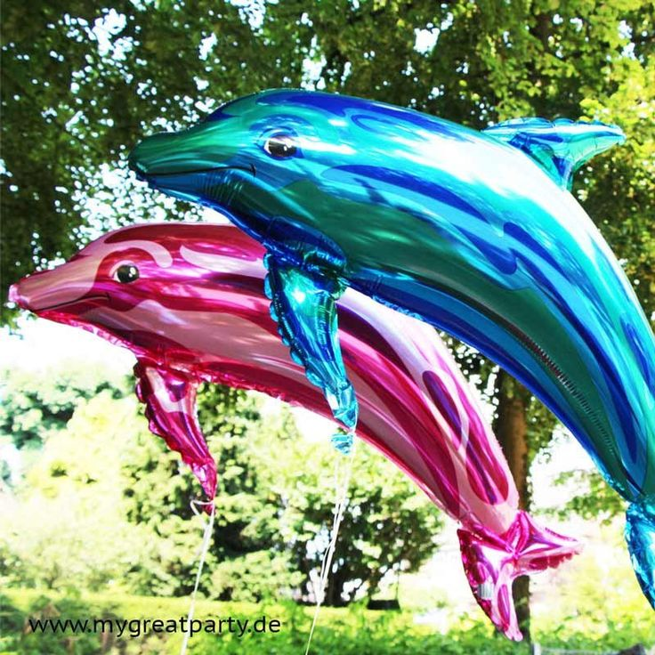 Delfin Folienballons in Rosa Metallicund Blau Metallic. Ca. 84 cm groß. Für Helium und Luft.     Dieser schöne De...