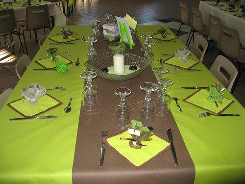 et deco d'une table chocolat et vert anis